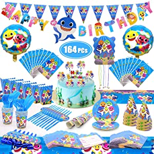 164 PCs Cute Shark Party Supplies Set Birthday Banner Balloons Disposable Tableware Kit Blowing Dragon Paper Hat Gift Bag Cake Toppers Pinata Shark Birthday Decorations Party Supplies
