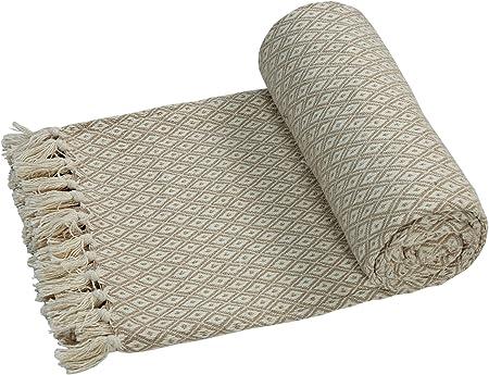 EHC – Algodón Suave Grande sofá Mantas Manta Doble Reversible Cama 150 x 200 cm, diseño de Silla, Color Beige: Amazon.es: Hogar