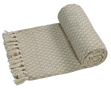 EHC – Algodón Suave Grande sofá Mantas Manta Doble Reversible Cama 150 x 200 cm, diseño de Silla, Color Beige