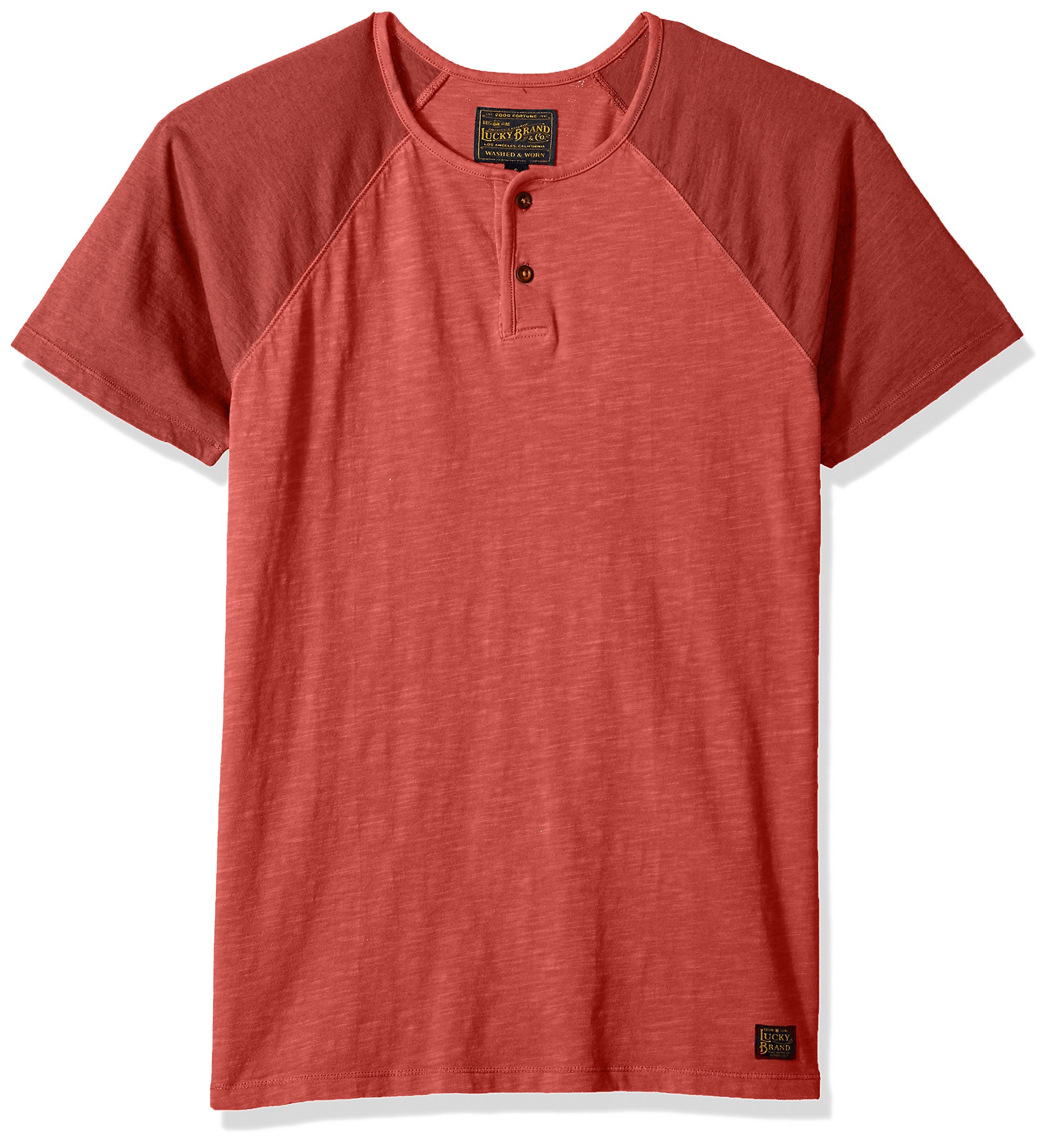 Lucky Brand Men's Colorblock Baseball Henley TEE Shirt, Cowhide, L