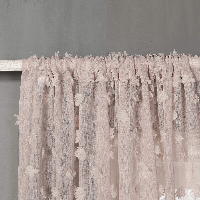 Grey MYSKY HOME Rod Pocket Pom Pom Sheer Curtain for Living Room Set of 2 Panels Rhombus Pompon Window Treatment Drapes 54 Inch Width by 63 Inch Length 1 Pair