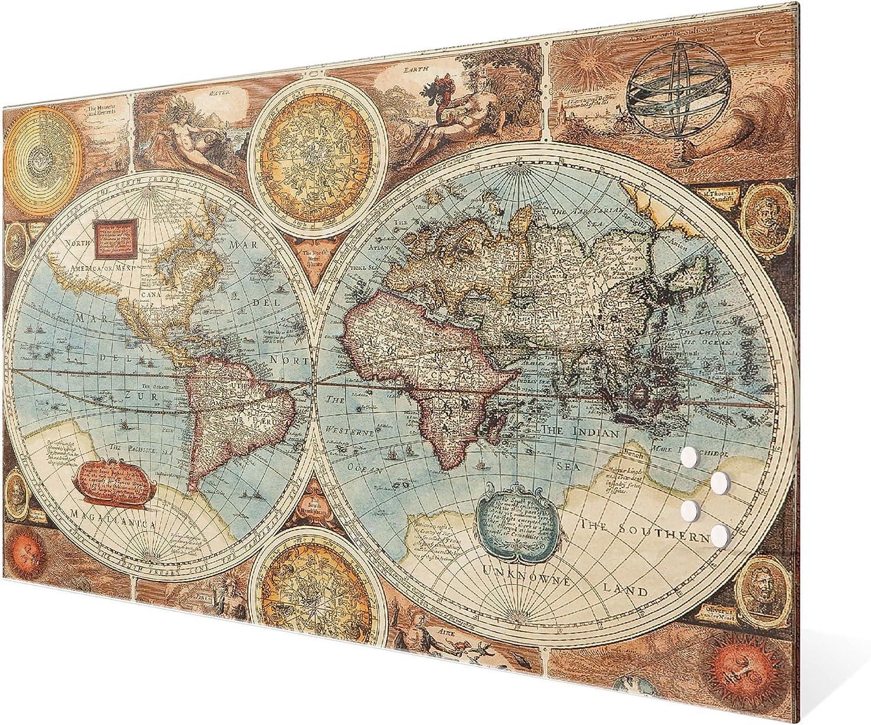 Magnetboard gro/ß mit Motiv Historische Weltkarte Memoboard beschreibbar perfekt f/ür die K/üche Magnetwand 90x60cm gro/ß BANJADO Glas Magnettafel mit 4 Magneten