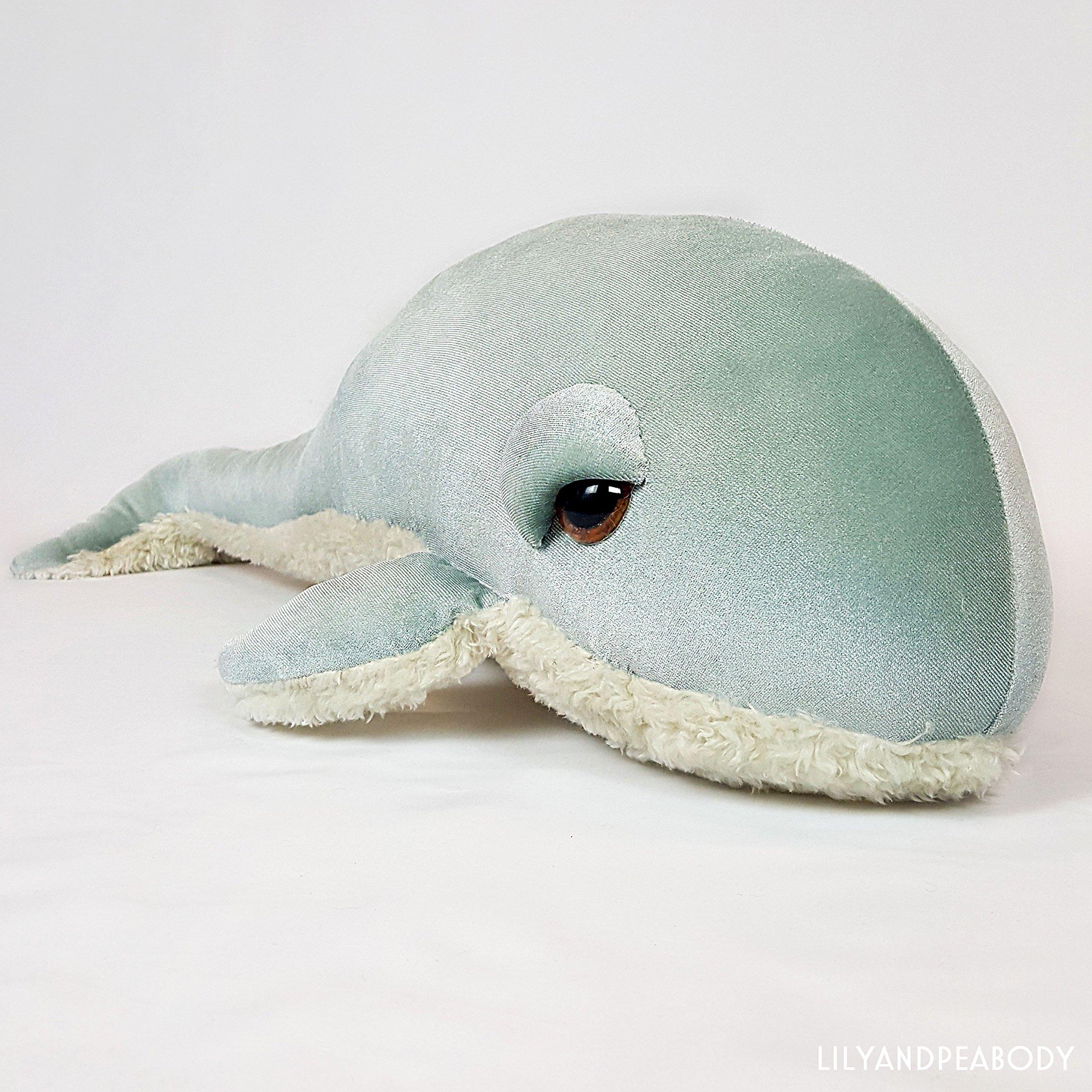Whale Plush Stuffed Animal, Sea Creature Stuffed Animal, Ocean Life Soft Sculpture, Blue Whale Nursery Decor, Nautical Marine Animal