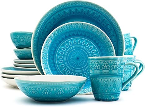 Amazon Com Euro Ceramica Fez Collection 16 Piece Ceramic Reactive Crackleglaze Dinnerware Set Service For 4 Teardrop Mandala Design Turquoise Dinnerware Sets