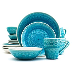 Euro Ceramica Fez Collection 16 Piece Ceramic Reactive Crackleglaze Dinnerware Set, Service for 4, Teardrop Mandala Design, Turquoise