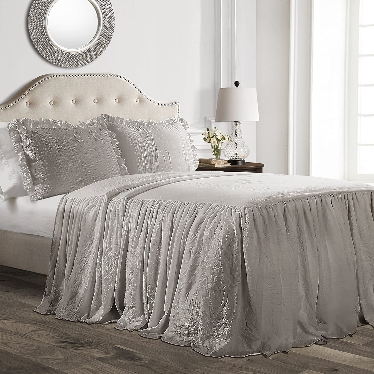 Lush Decor Lush Décor Ruffle Skirt Bedspread Gray Shabby Chic Farmhouse Style Lightweight 3 Piece Set - King,