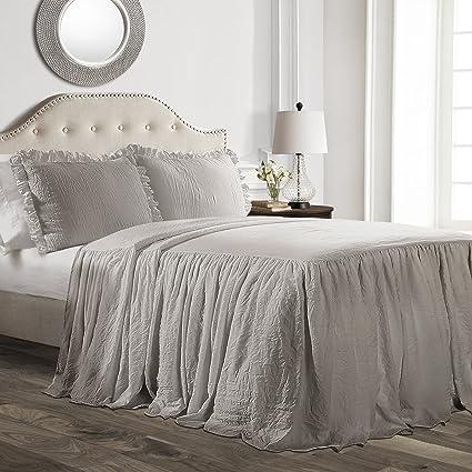 Lush Decor Ruffle Skirt Bedspread Gray Shabby Chic Farmhouse Style Lightweight 3 Piece Set Queen