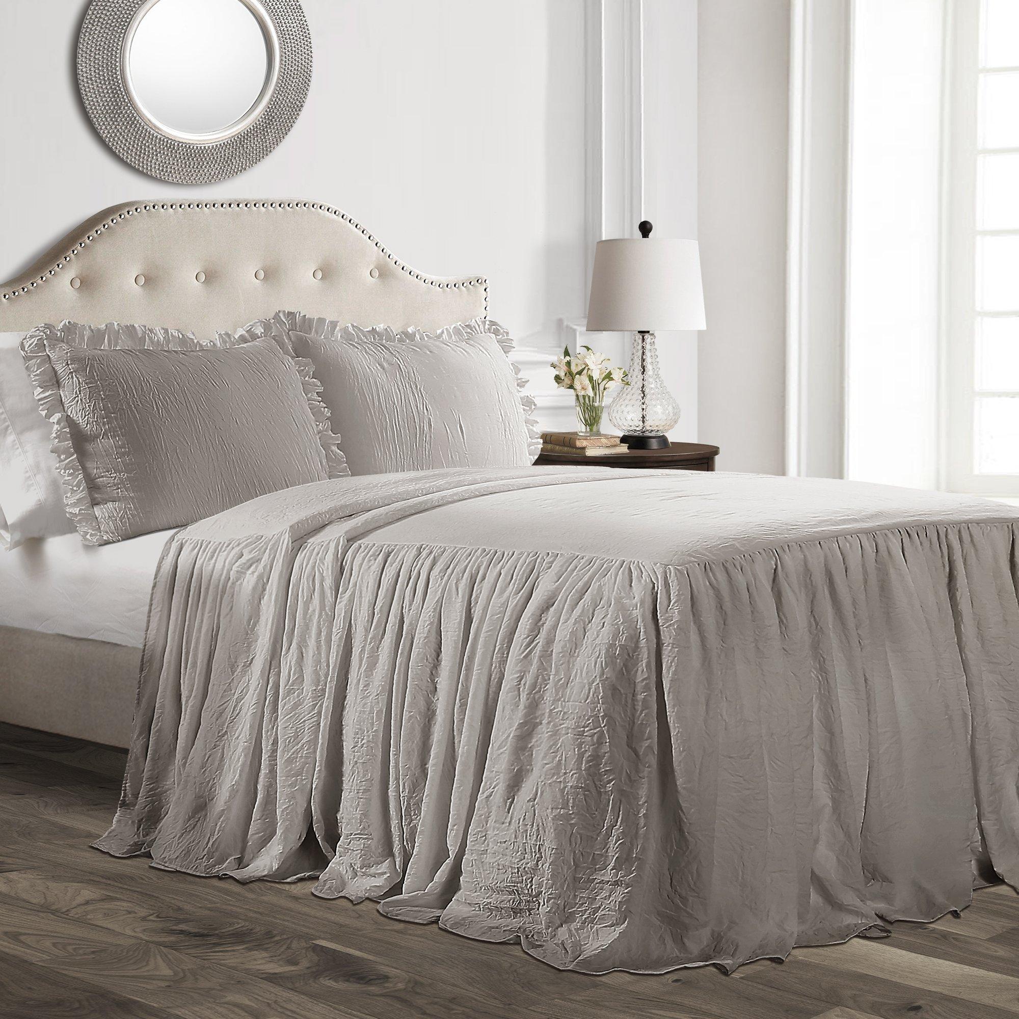 Lush Decor Ruffle Skirt 2 Piece Bedspread Set 2, Twin, Gray
