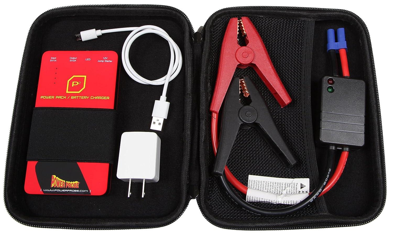 POWER PROBE Battery Jumper and Power Pack - Black (PPBJP03GS) [Car Test Tool, 12V Emergency Jumpstarter, Lightweight Compact LED Flashlight Powerbank]