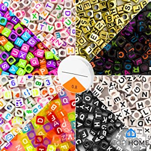"Top Home Store 1600 Pieces 8 Color Letter Beads Acrylic ""A – Z"" Alphabets for DIY Jewelry Making, Bracelets, Kids, Necklaces & Key Chains with Elastic Cord (6mm Cube)"