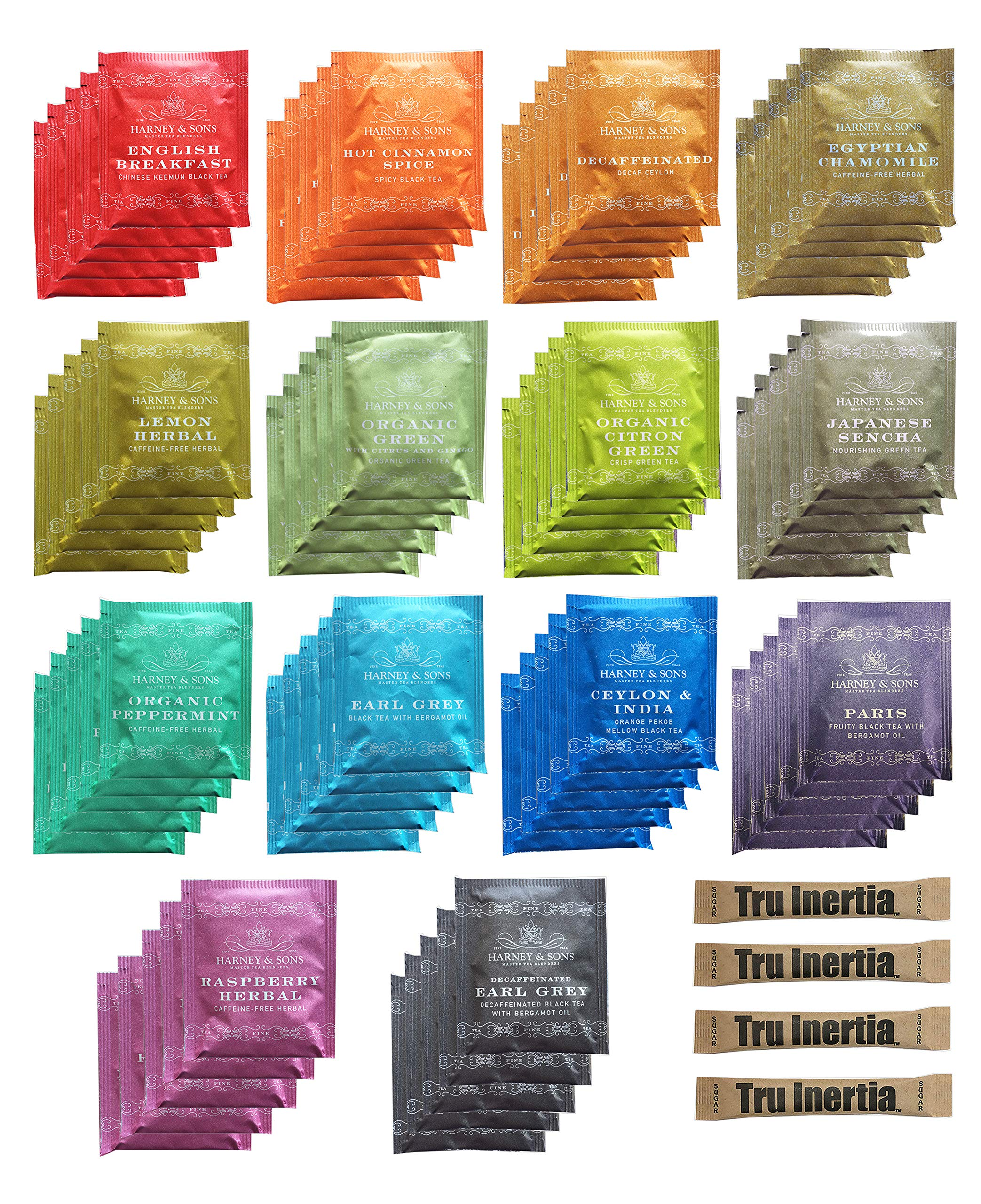 Harney & Sons Assorted Tea Bag Sampler 70 Count With Tru Inertia Sugar Packets Great for Birthday, Hostess and Co-worker Gifts by Tru Inertia