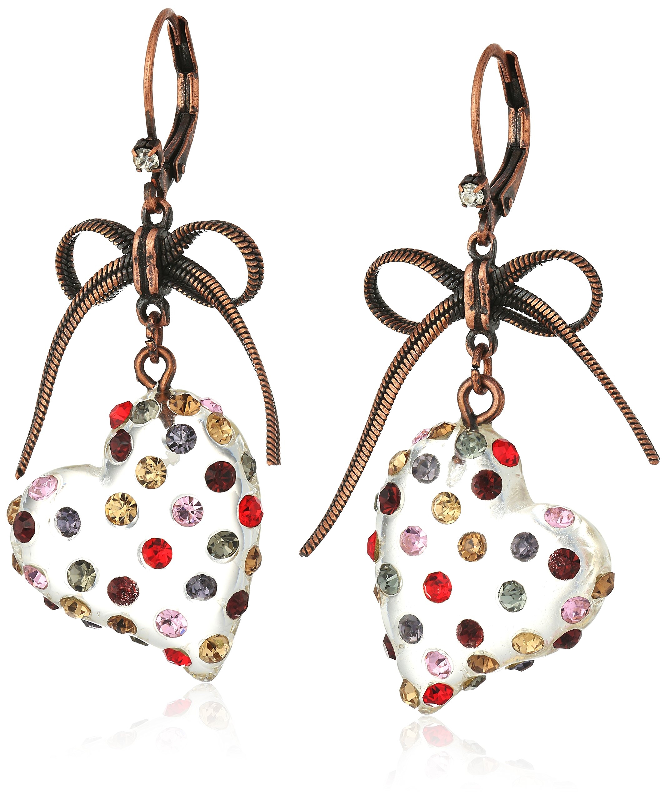 Betsey Johnson ''Confetti'' Mixed Multi-Colored Stone Lucite Heart Drop Earrings by Betsey Johnson