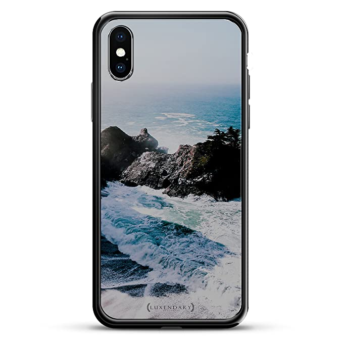 WAVES AND ROCKS SEETHROUGH | Luxendary Chrome Series designer case for iPhone X in Titanium Black trim