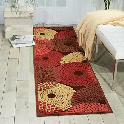 """Nourison Graphic Illusions  Brown Runner Area Rug, 2-Feet 3-Inches by 8-Feet  (2'3"""" x 8')"""