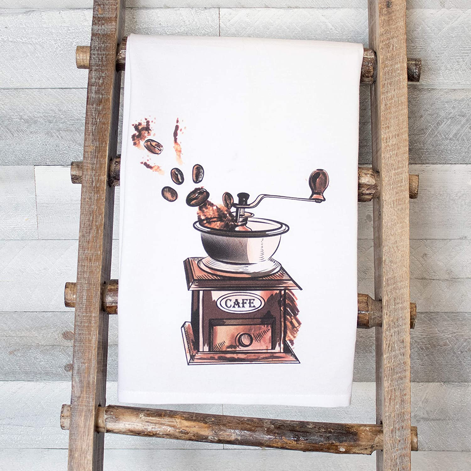 Coffee Makes Life Better and Vintage Coffee Grinder set of two premium flour sack tea towels