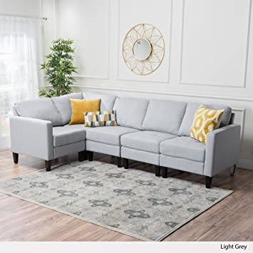 Delightful Carolina Light Grey Fabric Sectional Sofa