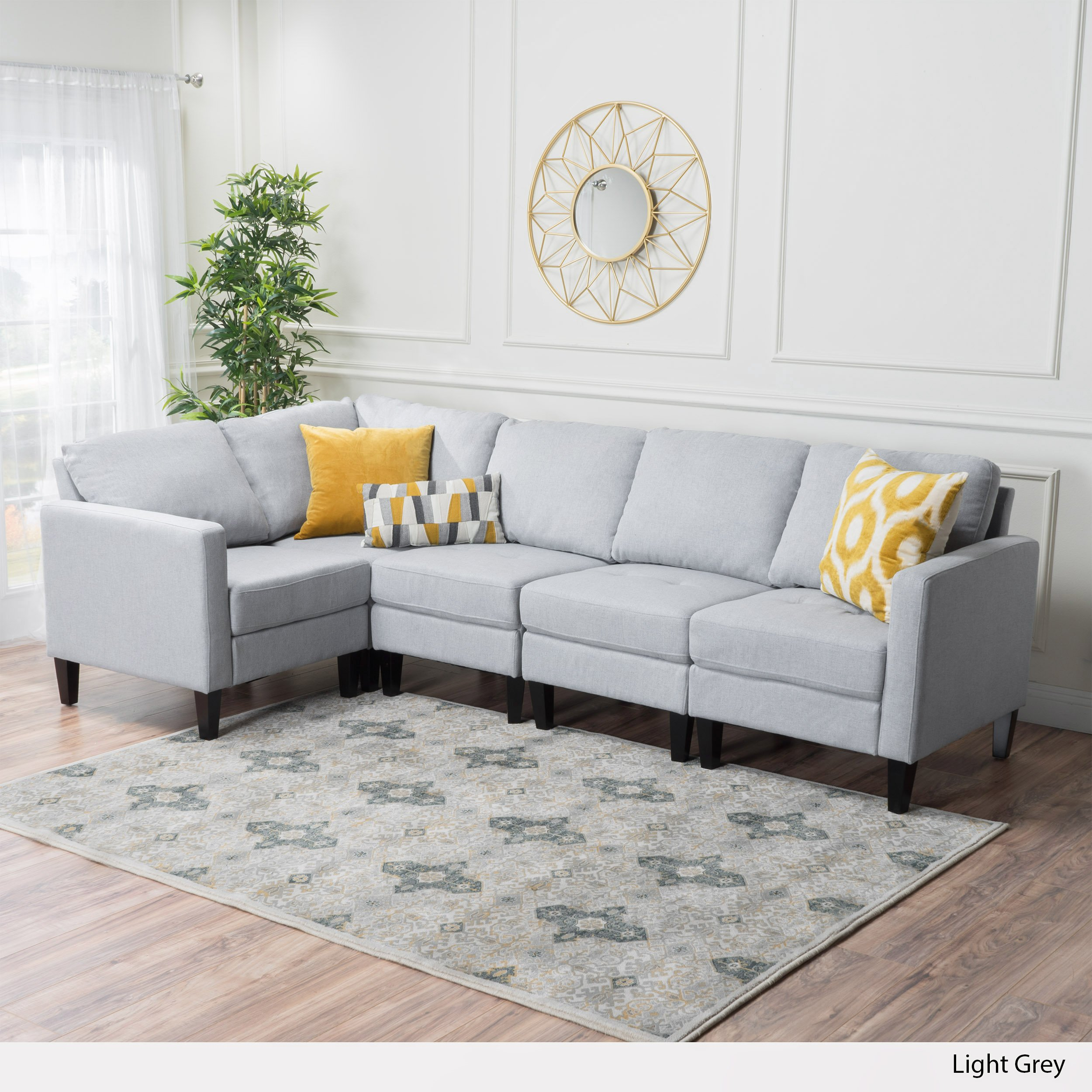 Sectional Gray Sofa Set: Carolina Sectional Sofa Set, 5-Piece Living Room Furniture