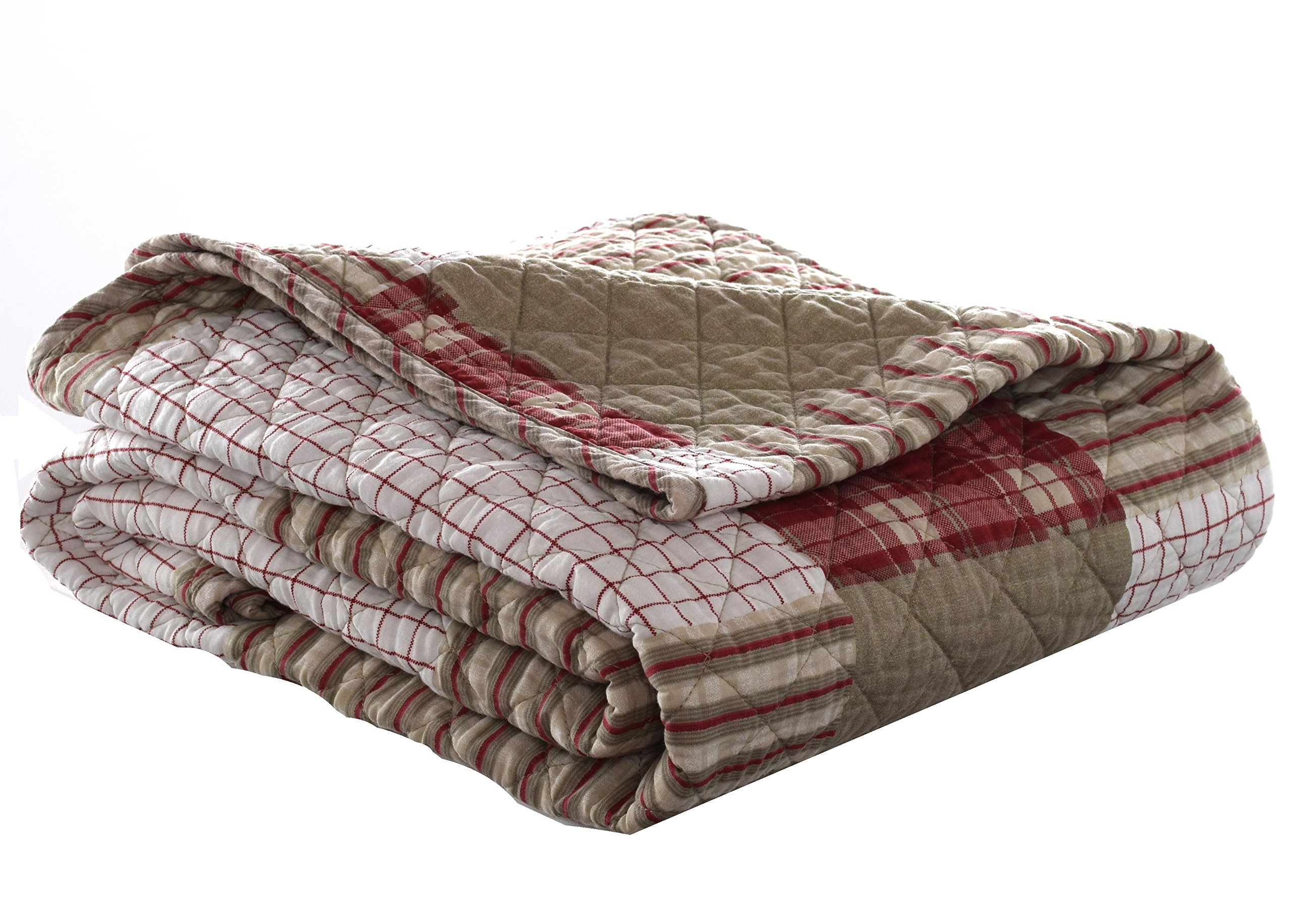Eddie Bauer Quilted Throw, 50 x 60-Inch, Camino Island - Throws measures 50x60 Throws is 100-percent cotton quilted Throws is reversible - blankets-throws, bedroom-sheets-comforters, bedroom - 9109CjmupcL -