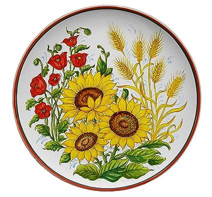 PIATTO con decorazione GIRASOLI PAPAVERI E SPIGHE in ceramica cm 41 ...