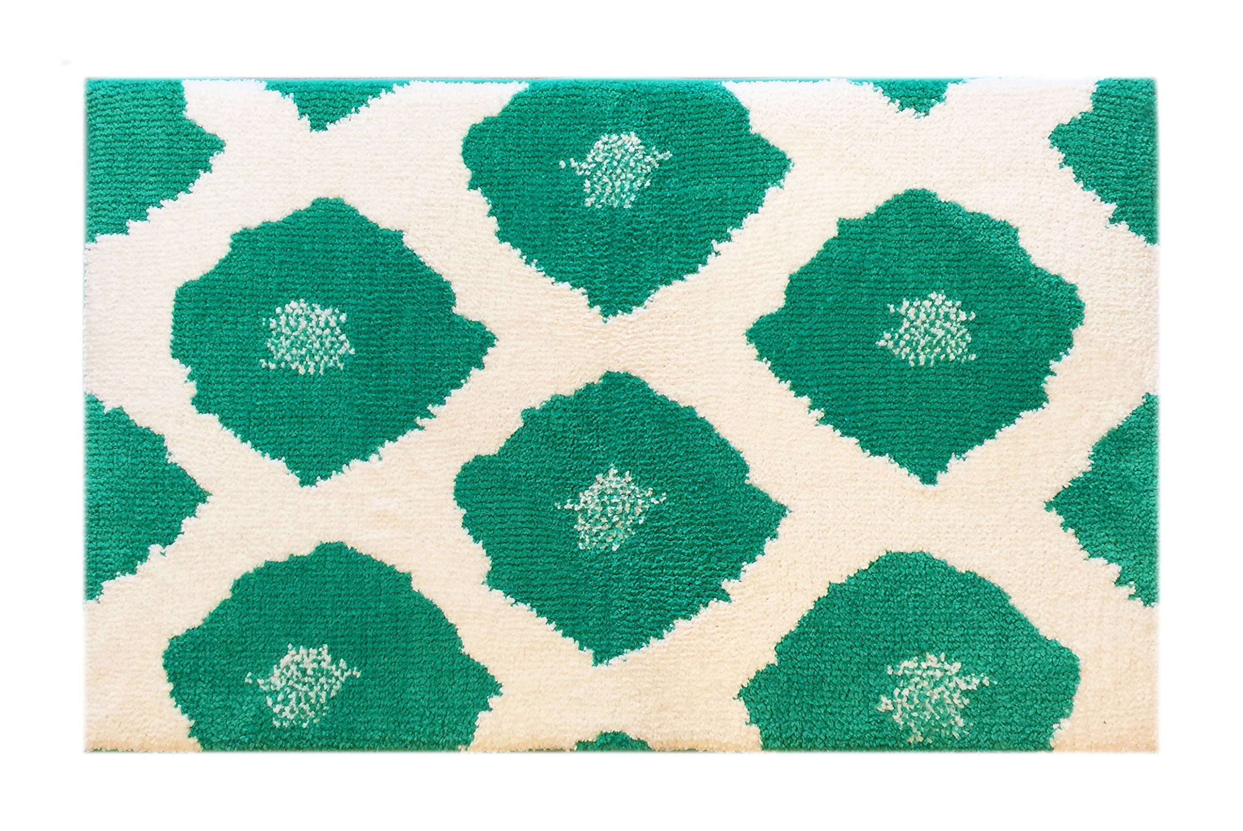 Fabbrica Home Non-Slip Bath Kitchen Accent Memory Foam Rug Mat, 34'' x 21'' (Dyed Ikat-Emerald)