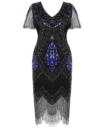 PrettyGuide Damen 1920er Charleston Kleid Pailetten Cocktail Flapper ...