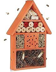 Relaxdays Hôtel à Insectes Maison à Papillon Bois Jardin Balcon Abeilles HxlxP: 40 x 27,5 x 7 cm