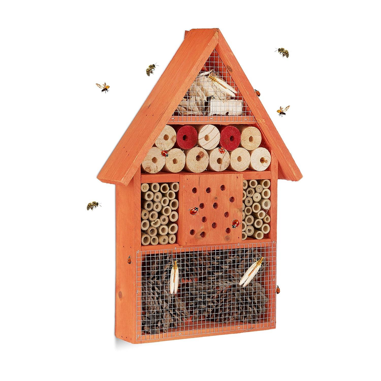 Relaxdays Insektenhotel, Nisthilfe für Wildbienen & Käfer, Deko für Balkon, Garten, HxBxT: 40x 27,5 x 7 cm, Holz, orange Deko für Balkon 10020740_57