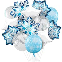 15Pcs 4D Snowflake Christmas Foil Balloons, Sparkly Shiny Snowflake Aluminum Foil Balloons Frozen Party Winter Star…