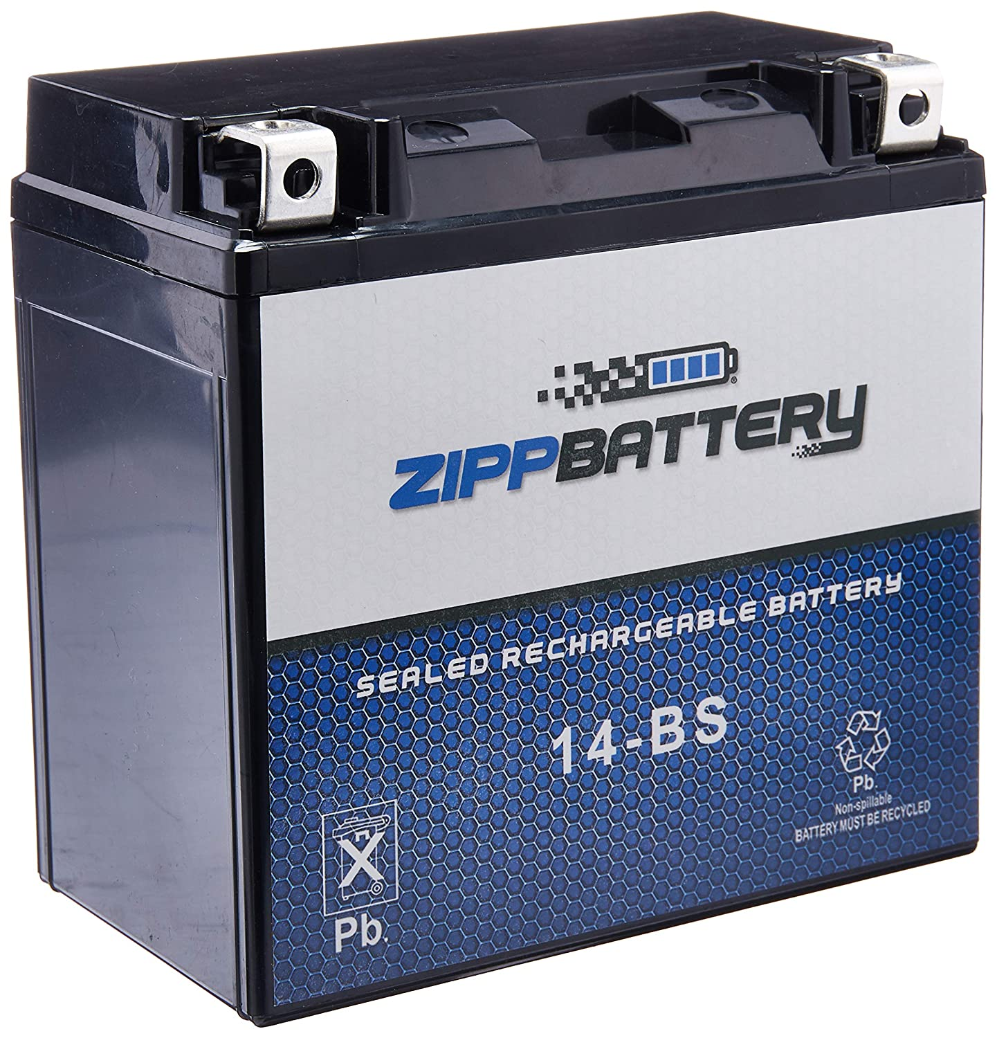 Chrome Battery YTX14-BS High Performance-Maintenance Free-Sealed AGM Motorcycle Battery