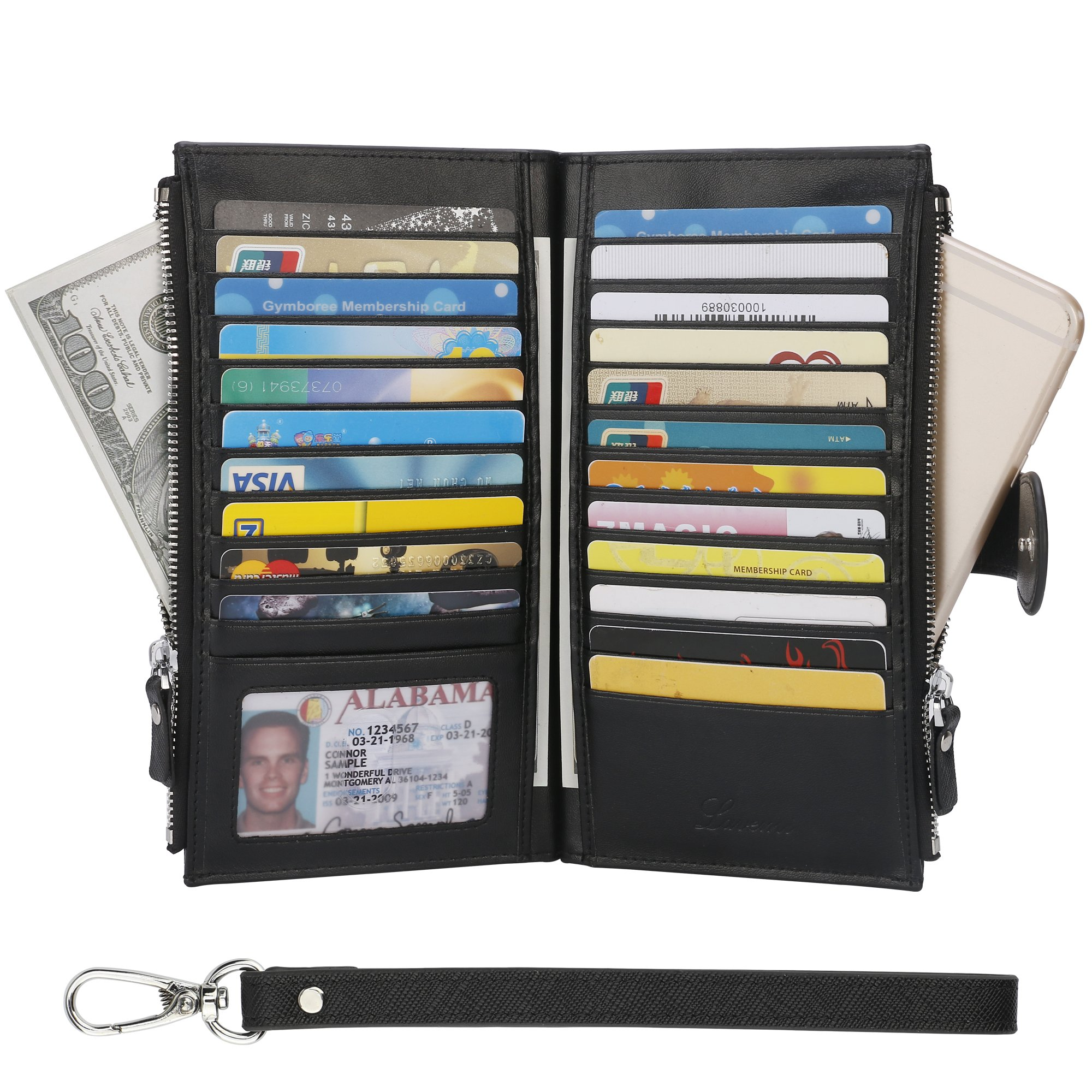 Wallet for Women- Womens RFID Blocking Genuine Leather Bifold Multi Card Case Wallet with Zipper Pockets(Black)
