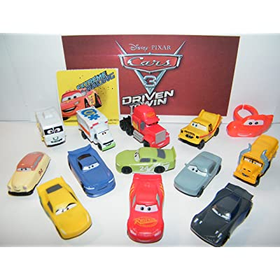 Cars Disney Pixar 3 Movie Deluxe Party Favors Goody Bag Fillers Set of 14 w/12 Plastic, a ToyRing, Sticker Featuring Next-Gen Racers, Dr. Damage and Many New Characters!: Toys & Games