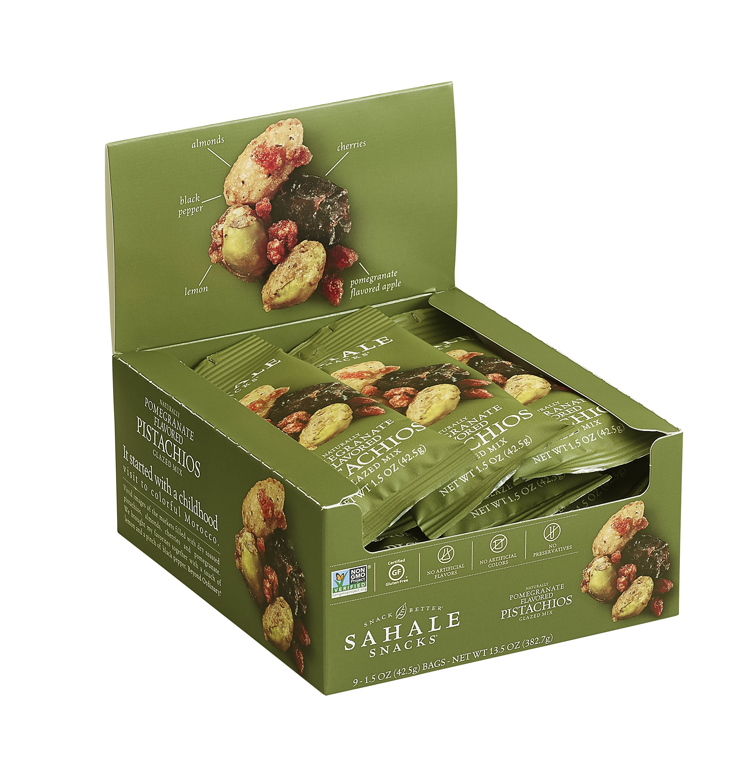 Sahale Snacks Grab & Go Naturally Flavored Pistachios Glazed Mix, Gluten-Free Snack, Pomegranate, 1.5 Ounce