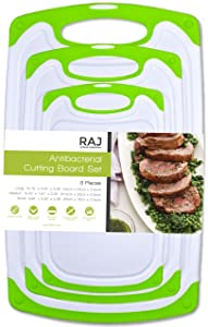 Raj Plastic Cutting Board Reversible Cutting board, Dishwasher Safe, Chopping Boards, Juice Groove, Large Handle, Non-Slip, BPA Free, FDA Approved (3 Piece Set, White/Green)