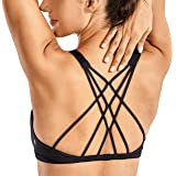 CRZ YOGA Women's Cute Yoga Sports Bra Strappy Sexy Back Padded Low Impact Workout Clothes Bra Tops