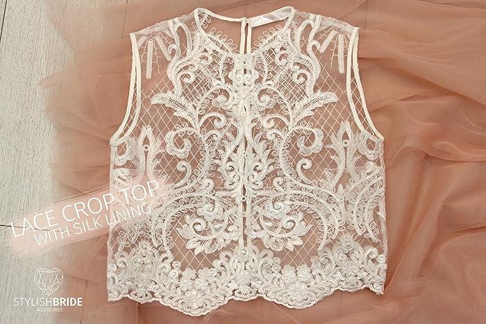 b48c537740187 Amazon.com  Allure Lace Crop Top Ivory Lace