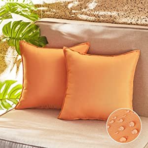RYB HOME Outdoor Pillow Covers Waterproof Dust Proof UV Protection Square Garden Cushion Covers for Patio Seating Tent Balcony Couch Sofa Porch Swing, 18x18 inch, Orange, 2 Pcs