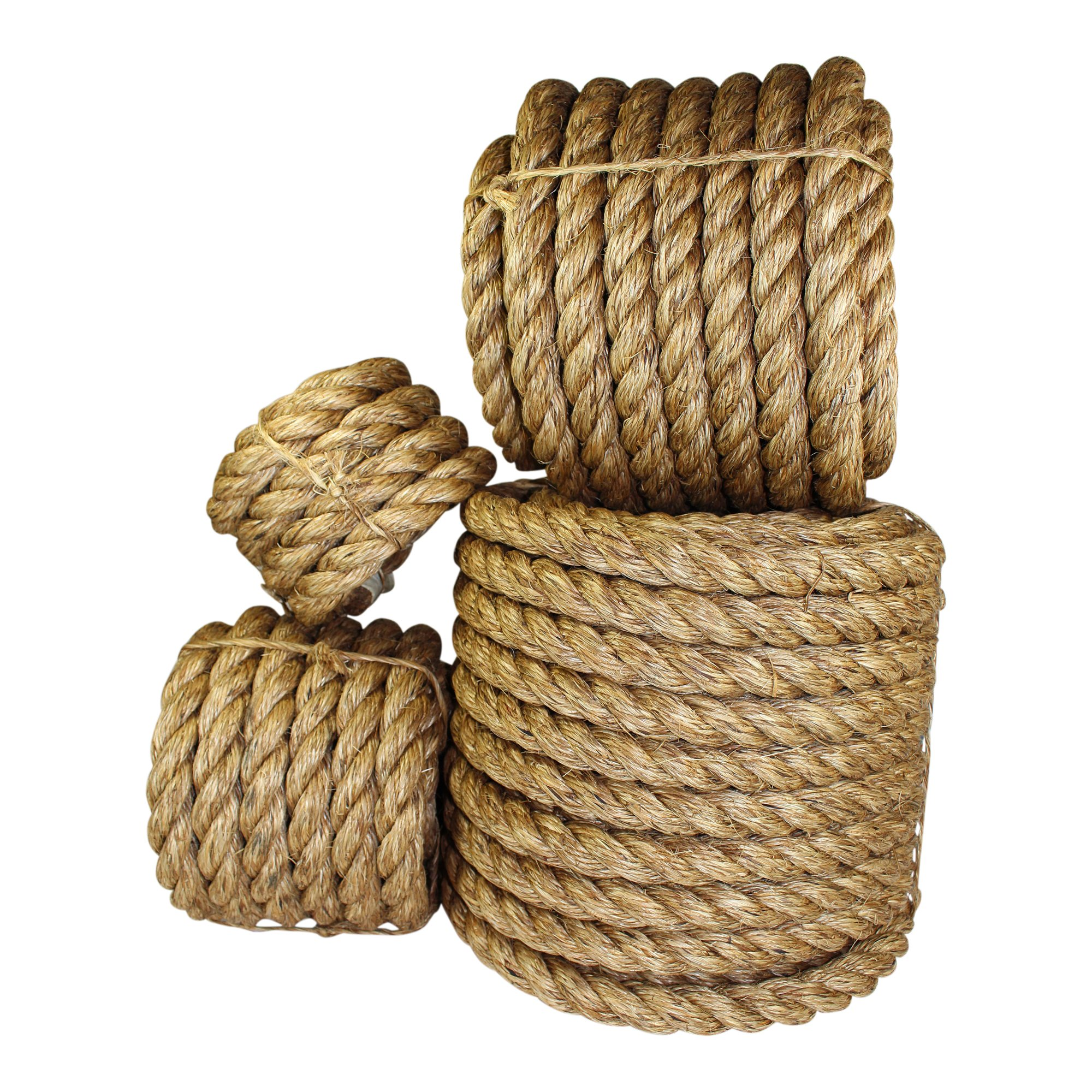 Twisted Manila Rope Hemp Rope (1 in x 50 ft) - SGT KNOTS - Tan Brown Natural Rope - Thick Heavy Duty Rustic Outdoor Cordage for Craft, Dock, Decorative Landscaping, Climbing, Tree Hanging Swing