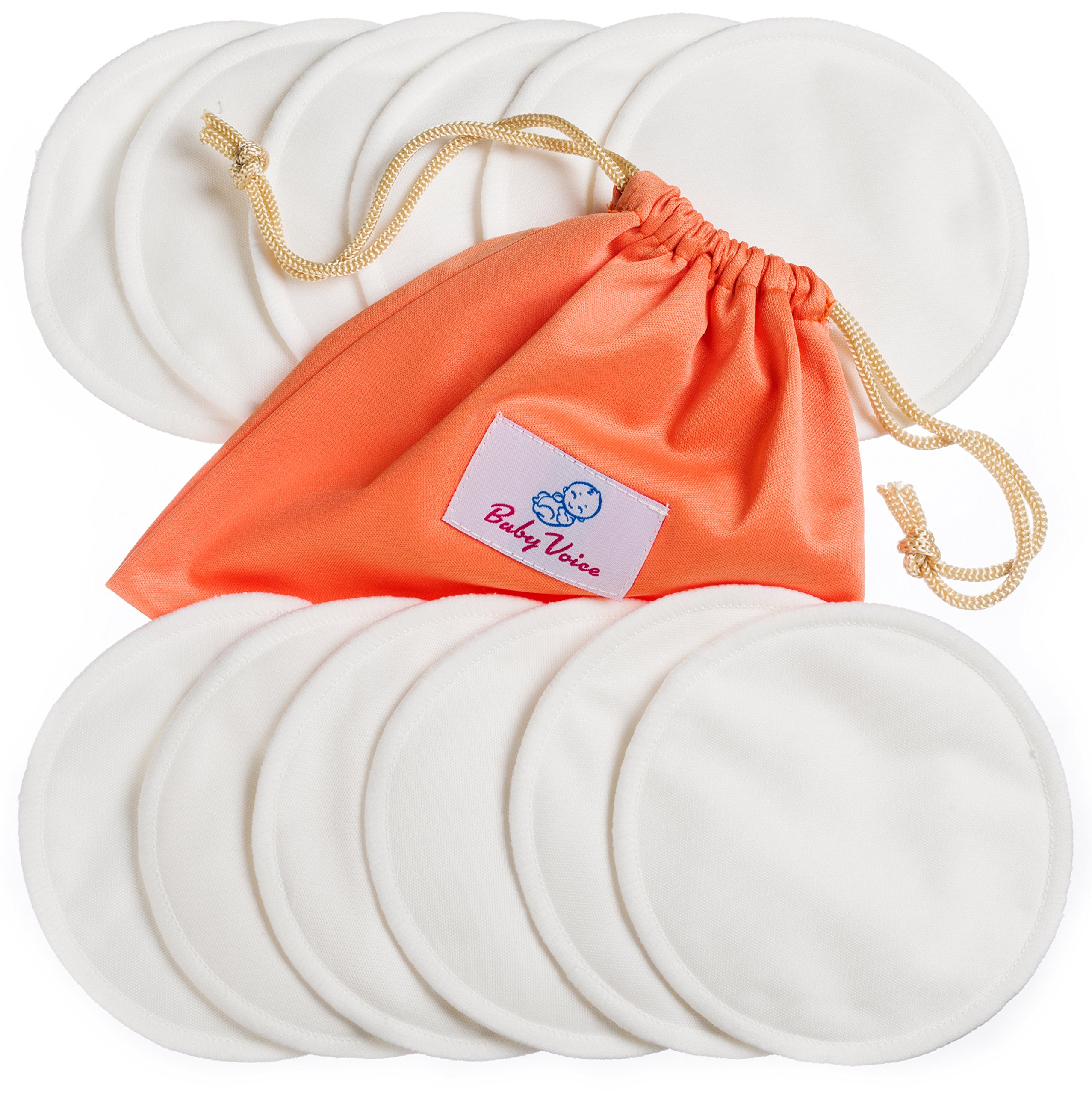 Nursing Pads 12 Pack | Organic Bamboo | Laundry & Travel Bag | Breastfeeding Guide Ebook | Washable & Reusable Breast Pads by BabyVoice (Medium, White) by BabyVoice