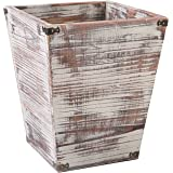 MyGift Farmhouse Style Torched Wood Square Wastebasket Bin with Decorative Metal Brackets
