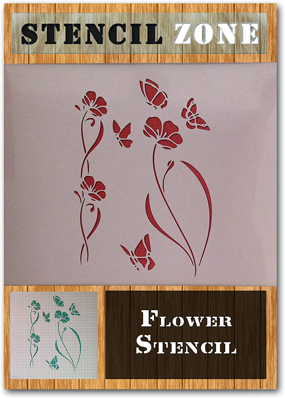 Motif Fleur Plante Mylar Jardin Airbrush Peinture murale Art Artisanat Stencil 2 A2 Taille Pochoir - Large