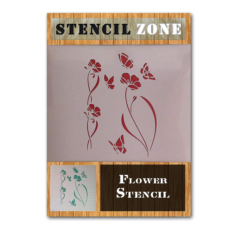 Flower Pattern Plant Garden Mylar Airbrush Painting Wall Art Crafts Stencil 2 (A1 Size Stencil - Xlarge) STENCIL ZONE