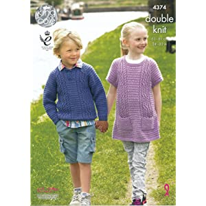 215ed5cbe King Cole Girls   Boys Double Knitting Pattern Cable Knit Sweater   Tunic  Merino DK (