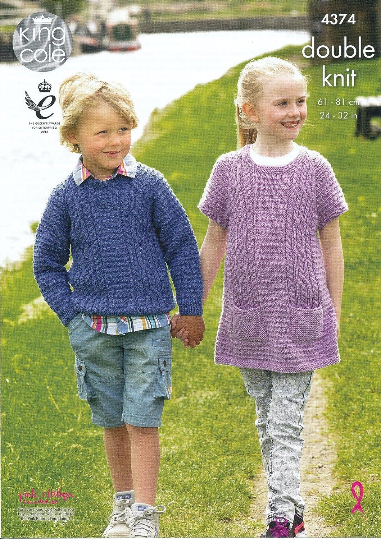 King Cole Boys Double Knitting Pattern Long Sleeved Sweater /& Slipover DK 3549