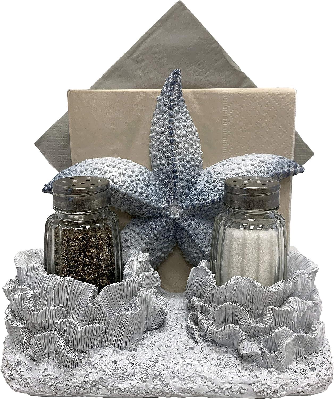 World of Wonders - Ocean Harmony Series - Under The Seasoning - Elegant Starfish Napkin Holder Salt and Pepper Set | Beach House Shabby Chic Sea Life Marine Nautical Home Decor Accent
