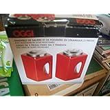 Oggi 2 Pc. Ceramic Salt & Pepper Shaker Set with Stainless Steel Tops