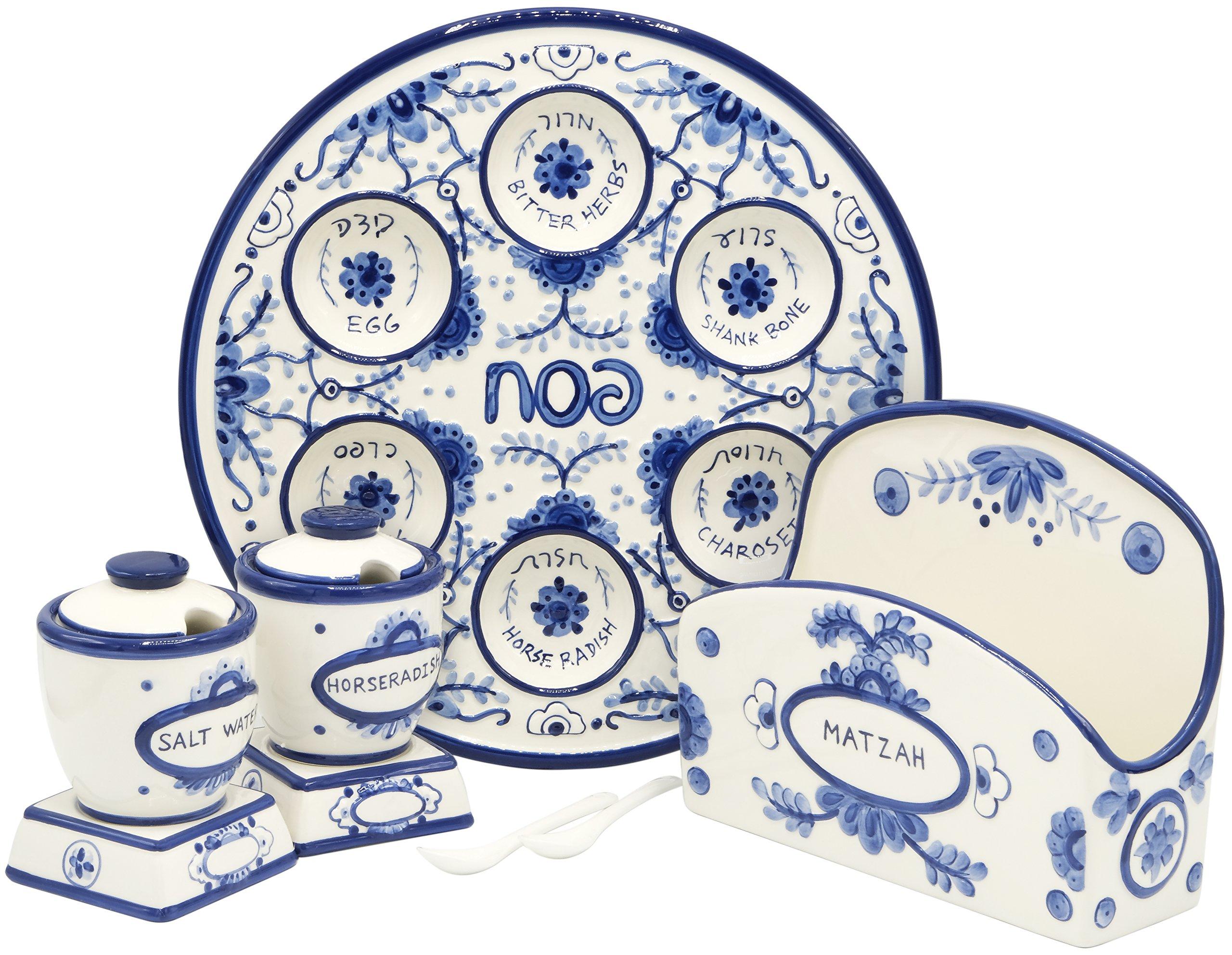 Passover Ceramic 12'' Blue & White Seder Plate, Matzah Holder, & Salt Water + Horseradish Set - Delft Design (Complete Passover Set)