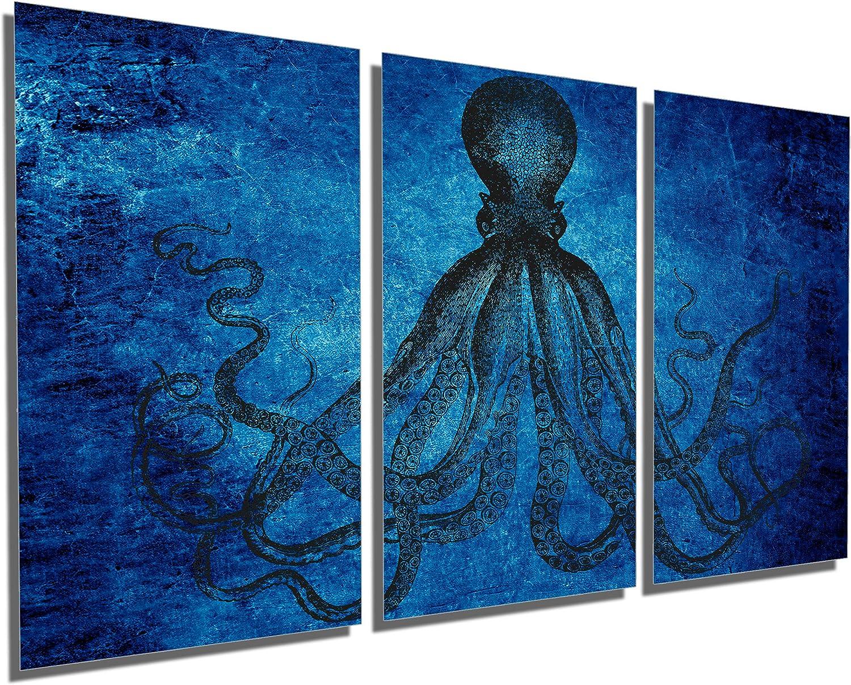 Amazon Com Canvas Quest 60 X 30 Total Lord Bodner Octopus Triptych Metal Print Wall Art Blue 3 Panel Split Kraken Hd Aluminum Prints Posters Prints