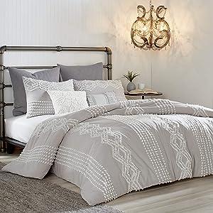 Peri Home Cut Geo 100% Cotton Comforter Set, Full/Queen, Grey