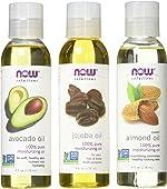 Now Foods Variety Moisturizing Oils Sampler: Sweet Almond, Avocado, and Jojoba
