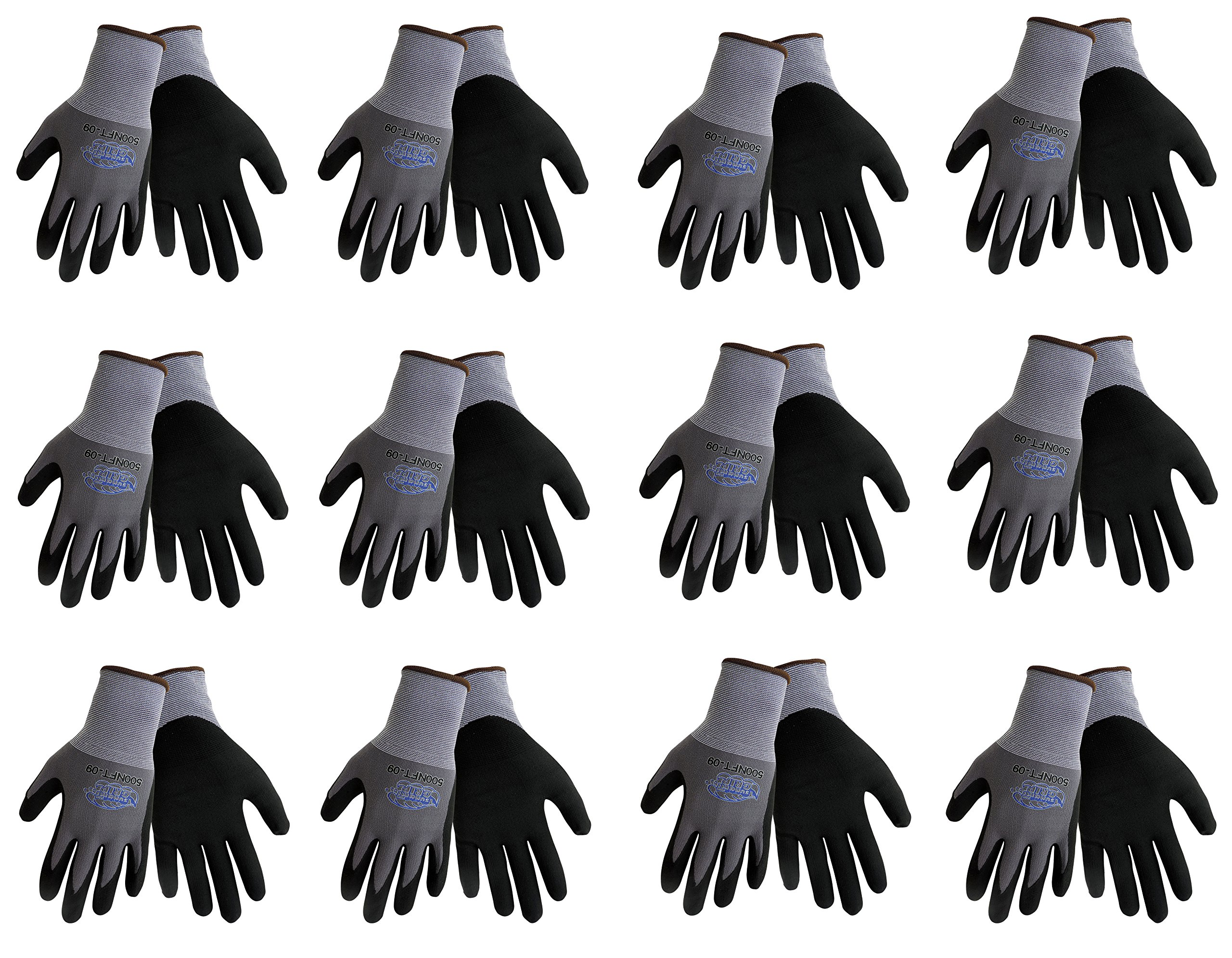 Tsunami Grip 500NFT Nitrile Coated Work Gloves Sizes Small-XL, Gray/Black, (12 Pair Pack) (Large)